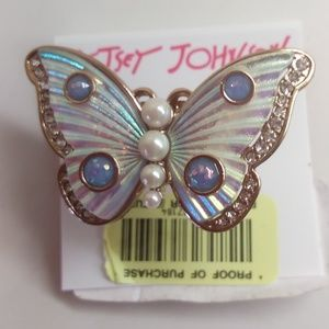 Betsey Johnson New White Butterfly Ring